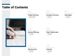 Table Of Contents Project Overview C452 Ppt Powerpoint Presentation Pictures Ideas