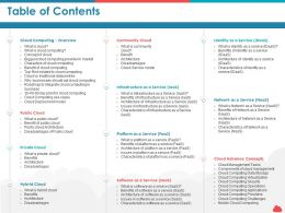 Table Of Contents Public Cloud Architecture Ppt Powerpoint Images