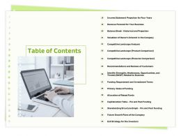 Table Of Contents Raised Funds M306 Ppt Powerpoint Presentation Layouts Outfit