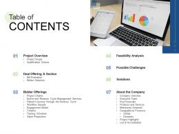 Table Of Contents RCM S W Bid Evaluation Ppt Styles Icons