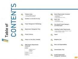 Table Of Contents Requirement Management Planning Ppt Designs