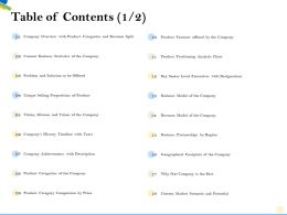 Table Of Contents Revenue Model M2184 Ppt Powerpoint Presentation File Sample