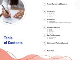 Table Of Contents Scope Of Services Ppt Demonstration