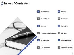 Table Of Contents Service Details Ppt Powerpoint Presentation File Samples
