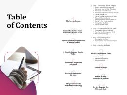 Table Of Contents Service Development Plans Ppt Powerpoint Presentation Gallery Grid