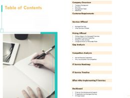 Table Of Contents Service Features Comparison N221 Ppt Powerpoint Presentation Portfolio
