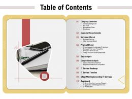 Table Of Contents Service Features Comparison Ppt Powerpoint Presentation Images