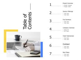 Table Of Contents Service Offerings Ppt Powerpoint Presentation Images