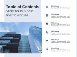 Table Of Contents Slide For Business Inefficiencies Infographic Template