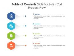 Table Of Contents Slide For Sales Call Process Flow Infographic Template