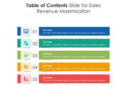 Table Of Contents Slide For Sales Revenue Maximization Infographic Template