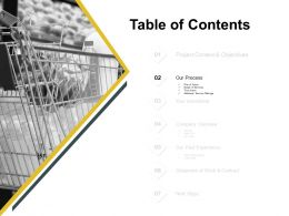 Table Of Contents Slide Process Ppt Powerpoint Presentation Pictures Grid