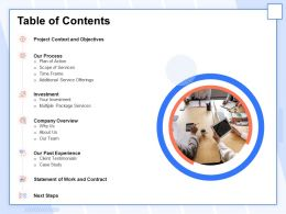 Table Of Contents Statement Of Work And Contract Ppt Icon