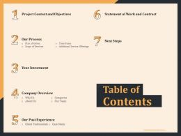 Table Of Contents Statement Of Work And Contract Ppt Model