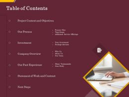 Table Of Contents Statement Of Work And Contract Ppt Outline