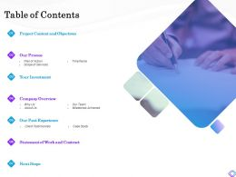 Table Of Contents Statement Of Work And Contract Ppt Powerpoint Presentation Visual Aids Infographic