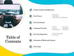 Table Of Contents Time Frame Ppt Inspiration