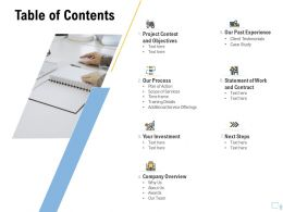 Table Of Contents Training Details Ppt Outline