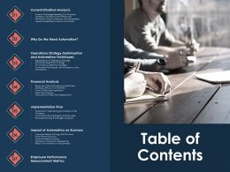 Table Of Contents Training M779 Ppt Powerpoint Presentation Styles Outfit