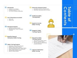 Table Of Contents Training Program Ppt Powerpoint Presentation Styles