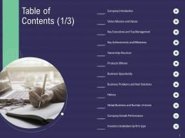 Table Of Contents Values Growth Ppt Powerpoint Presentation Styles Icons
