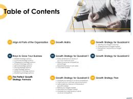 Table Of Contents Ways To Grow Your Business Ppt Portfolio Elements