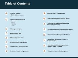 Table Of Contents Work Culture Improvement Plan Ppt Template