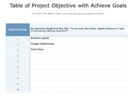 Table Of Project Objective With Achieve Goals