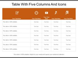 Table With Five Columns And Icons