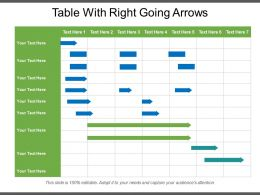 Table With Right Going Arrows