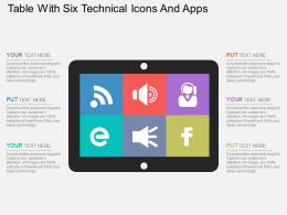 Table With Six Technical Icons And Apps Flat Powerpoint Design