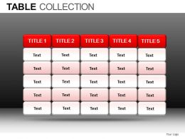 Tables Collection Powerpoint Presentation Slides DB