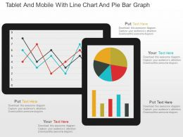 Tablet And Mobile With Line Chart And Pie Bar Graph Powerpoint Slides