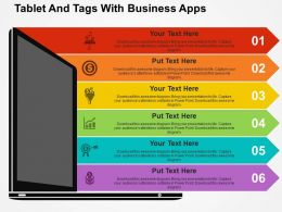 Tablet And Tags With Business Apps Flat Powerpoint Design