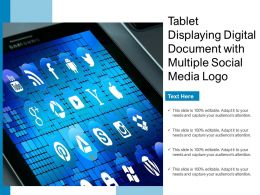 Tablet Displaying Digital Document With Multiple Social Media Logo