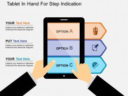 Tablet In Hand For Step Indication Flat Powerpoint Design