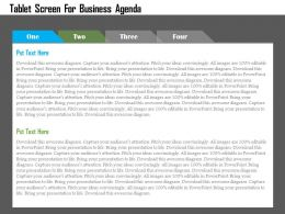 Tablet Screen For Business Agenda Flat Powerpoint Design