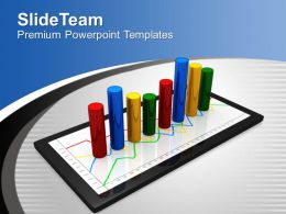 Tablet Shows Yearly Growth Business PowerPoint Templates PPT Themes And Graphics 0313