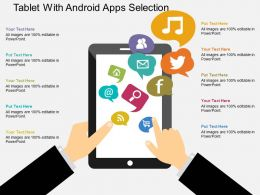 Tablet With Android Apps Selection Flat Powerpoint Design