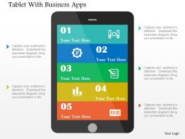 Tablet With Business Apps Flat Powerpoint Design