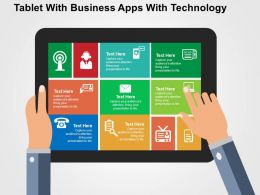 Tablet With Business Apps With Technology Flat Powerpoint Design