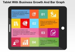 Tablet With Business Growth And Bar Graph Flat Powerpoint Design