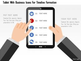 Tablet With Business Icons For Timeline Formation Flat Powerpoint Design