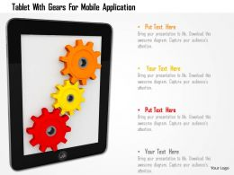 Tablet With Gears For Mobile Application Image Graphics For Powerpoint