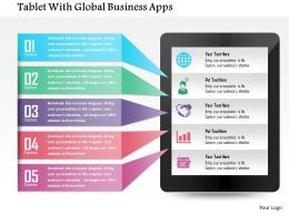 Tablet With Global Business Apps Powerpoint Template