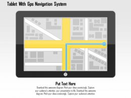 Tablet With Gps Navigation System Flat Powerpoint Design