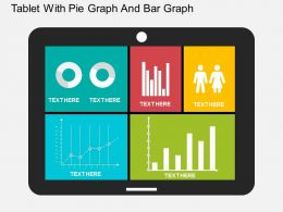 Tablet With Pie Graph And Bar Graph Flat Powerpoint Design
