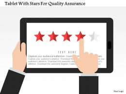 Tablet With Stars For Quality Assurance Flat Powerpoint Design