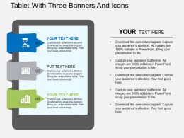 Tablet With Three Banners And Icons Flat Powerpoint Design