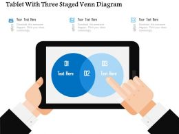 Tablet With Three Staged Venn Diagram Flat Powerpoint Design